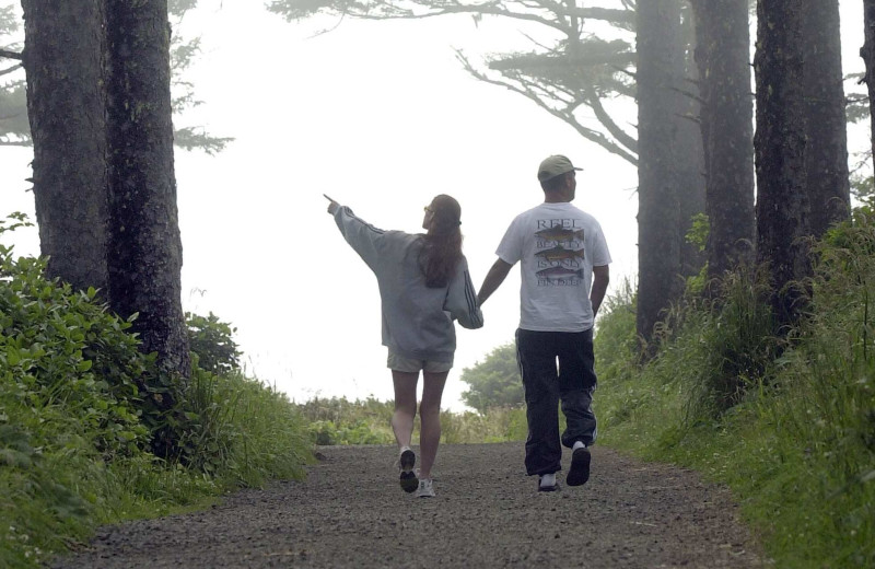 Couple hiking at Oceanfront Getaways.