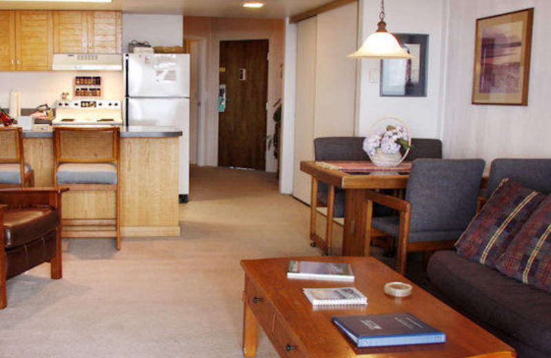 Guest living room and kitchen at Gearhart by the Sea.