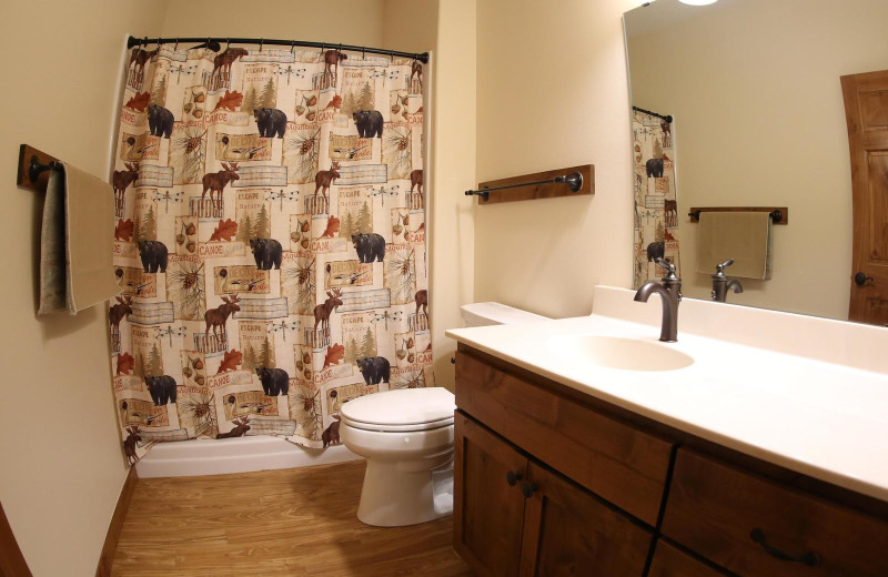 Guest bathroom at East Silent Lake Resort.