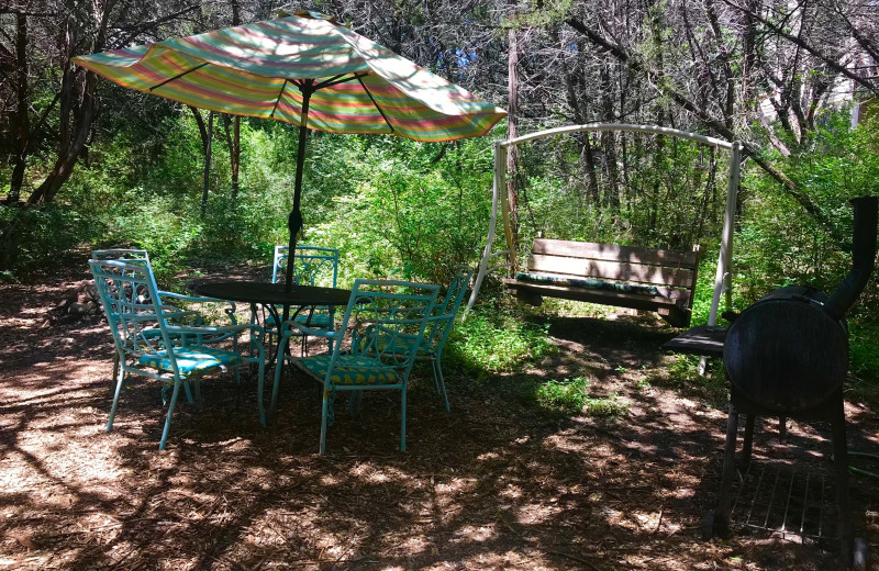 Cabin patio at Creekside Camp & Cabins.