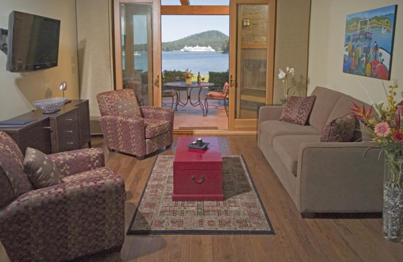 Villa living room at Galiano Oceanfront Inn and Spa.