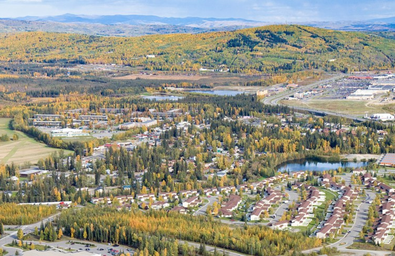 Aerial view of Fairbanks Alaska near Bridgewater Hotel.