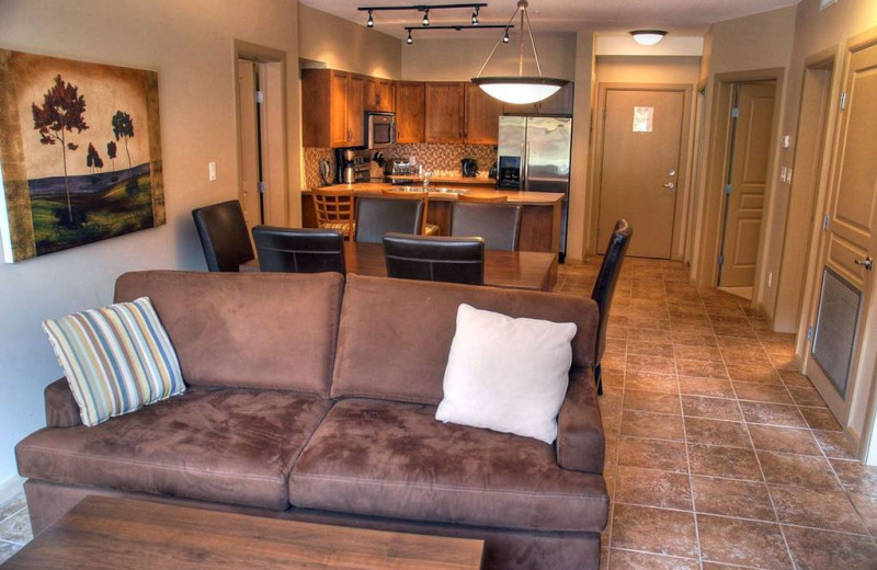 Guest kitchen and living room at Playa Del Sol Resort.