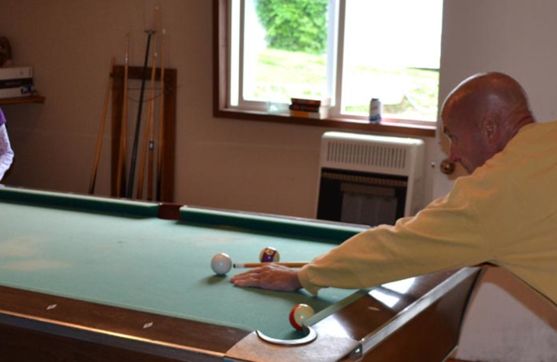 Billiard table at Zachar Bay Lodge.