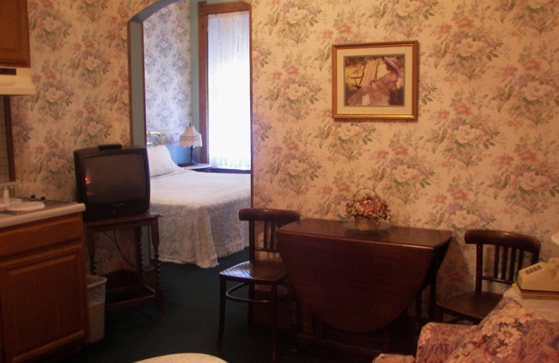 Guest room at Grand Central Hotel.