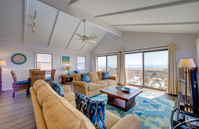 Rental living room at Outer Beaches Realty.
