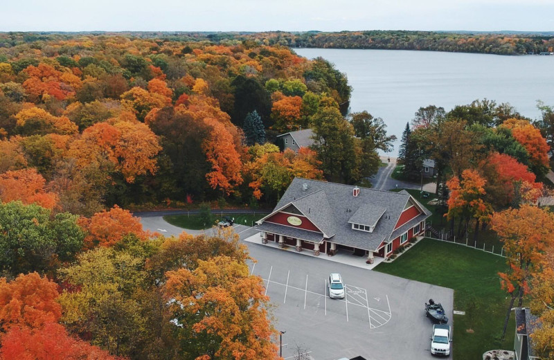 Aerial view of East Silent Lake Resort.
