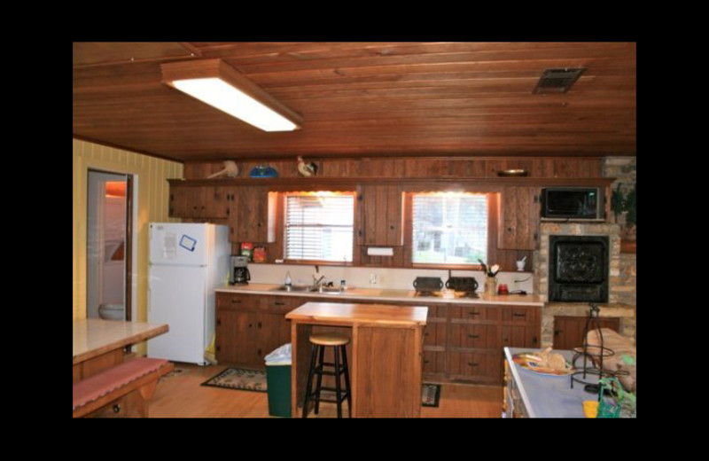 Cabin kitchen at Cool Water Cabin Rental - Lake LBJ.