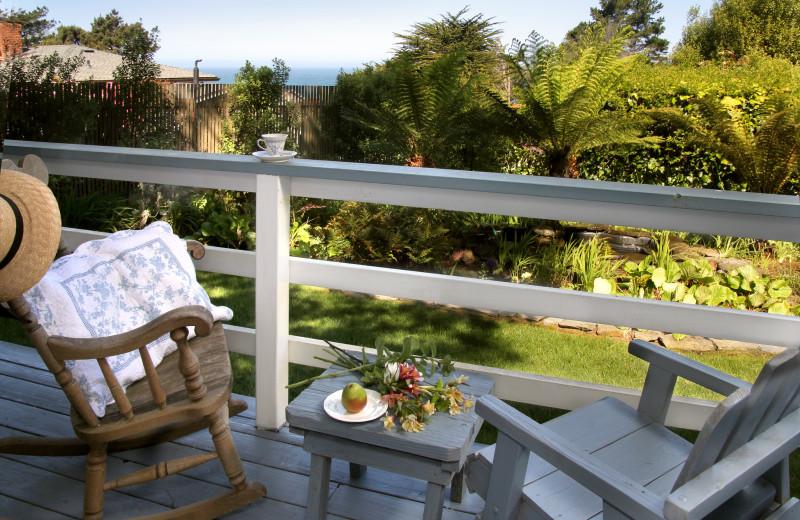 Guest balcony at Agate Cove Inn.