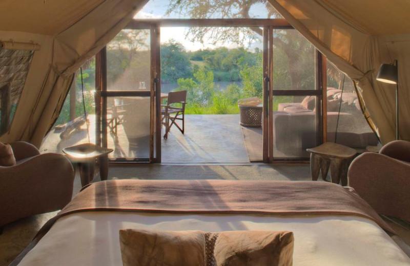 Guest room at Grumeti Serengeti Tented Camp.