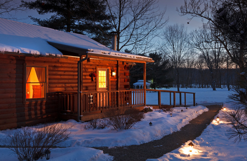 Winter cabin at The White Oak Inn.