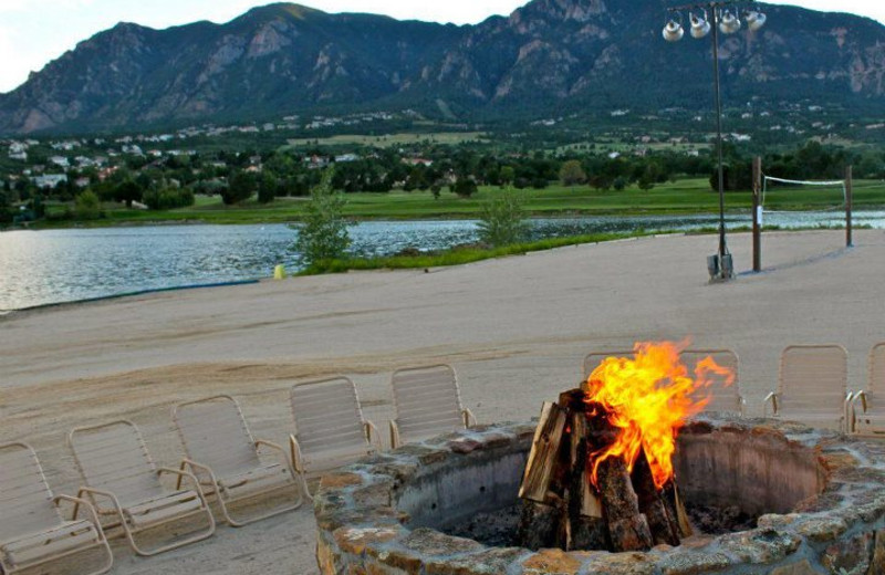 Fire pit on the beach at Cheyenne Mountain Resort.