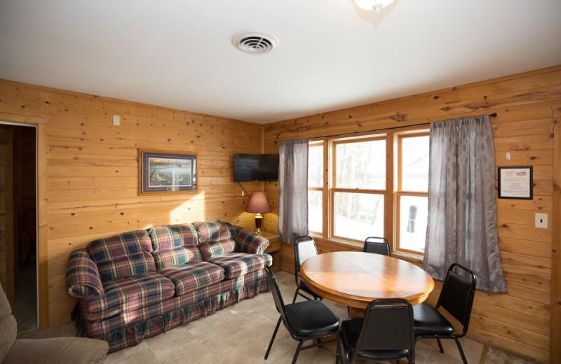 Guest cabin living room at River Bend's Resort & Walleye Inn.
