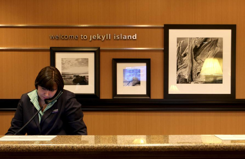 Front desk at Hampton Inn & Suites Jekyll Island.