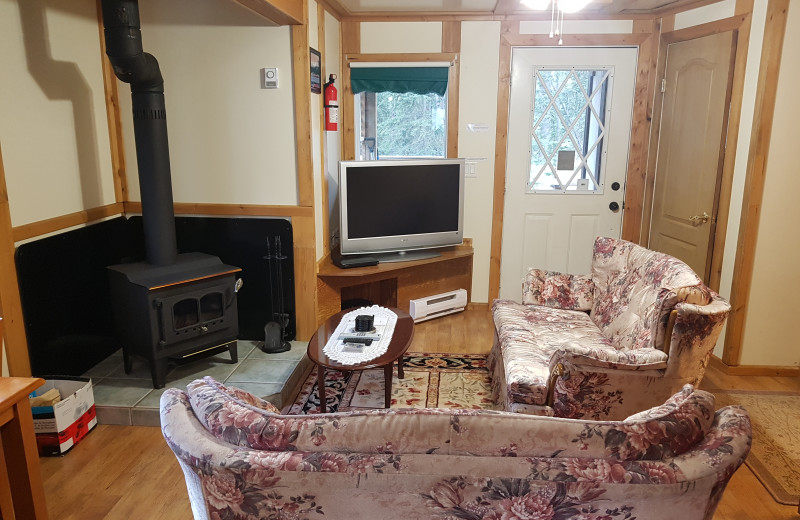 Cabin living room at Expanse Cottages.