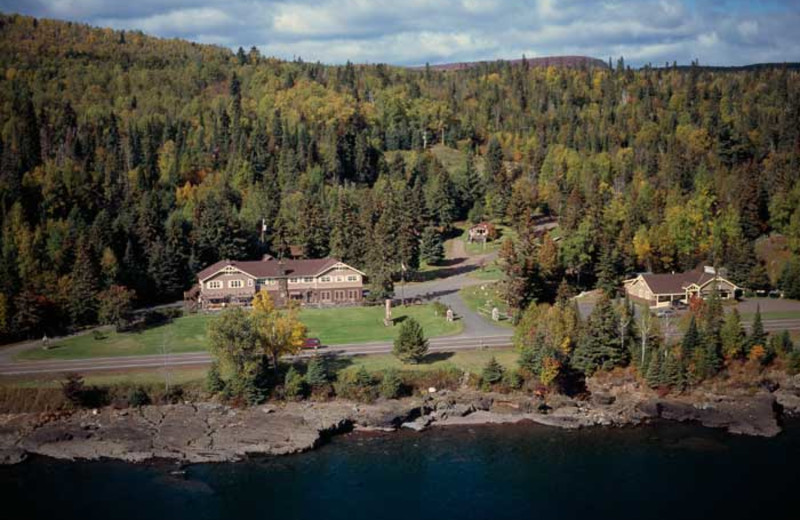 Aerial view of Cascade Lodge.