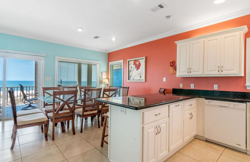 Rental kitchen at Sunset Properties.