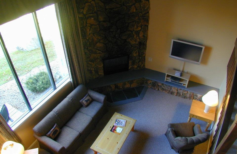 Rental living room at Lake Placid Accommodations.