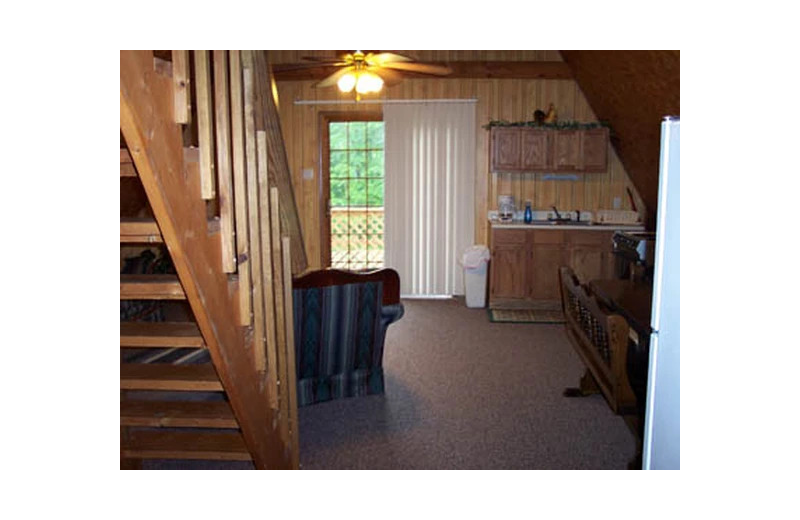 Cabin interior at Hocking Hills Cozy Cabins.