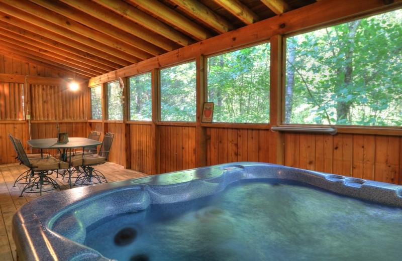 Cabin porch at Oak Haven Resort.