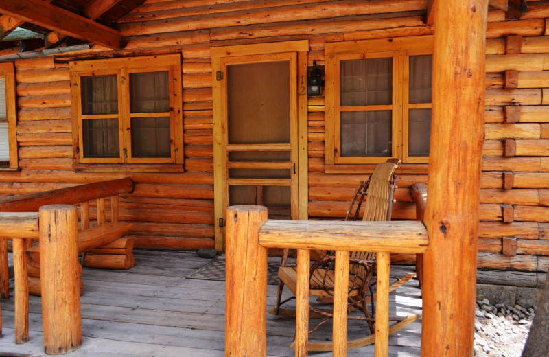 Cabin deck at Shoshone Lodge & Guest Ranch.