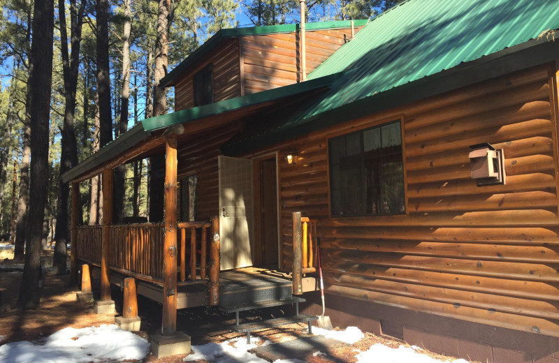 Cabin exterior at Myrick's Cabins.