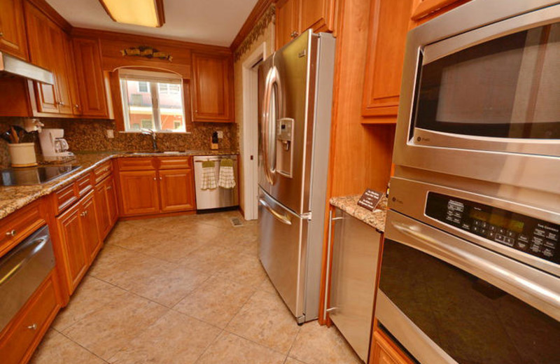 Rental kitchen at Elliott Beach Rentals.