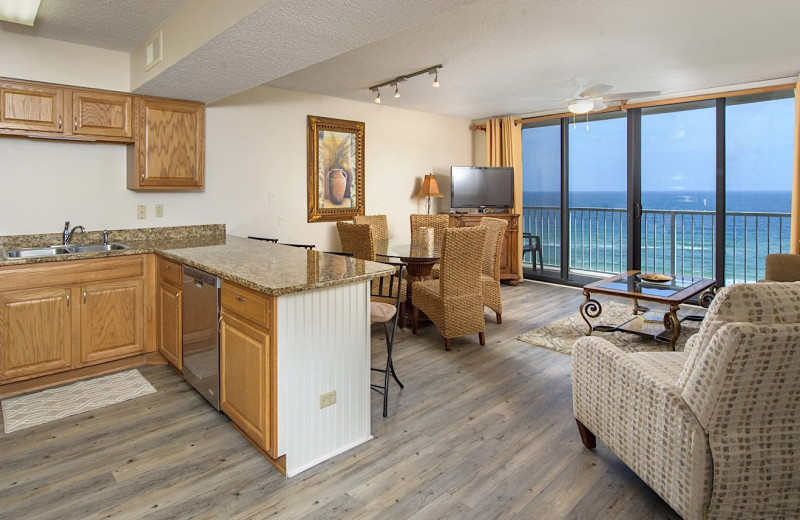 Rental kitchen living room at Coastal Properties.