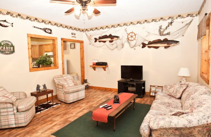 Living room view at Willowbrook Cabins.