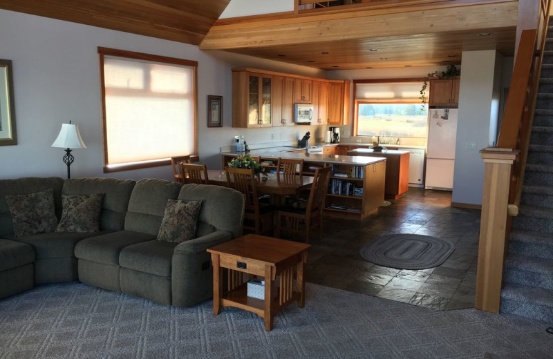 Living room and kitchen at Dungeness Beach Retreat.