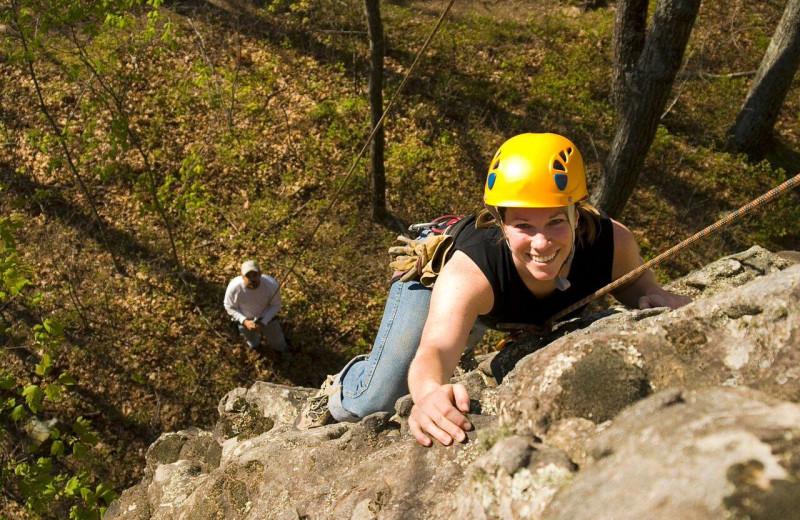 Rock climbing at The Lodge at Lane's End.