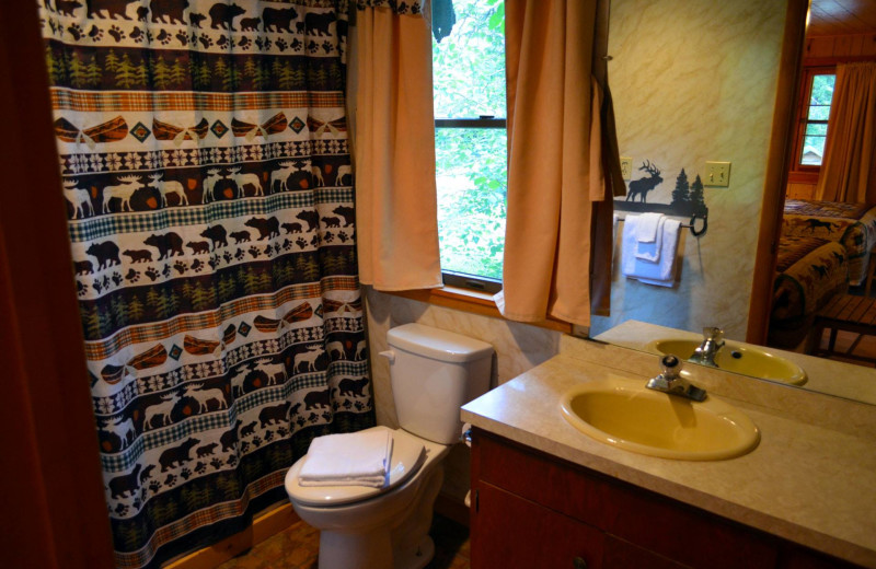 Cabin bathroom at Shoshone Lodge & Guest Ranch.