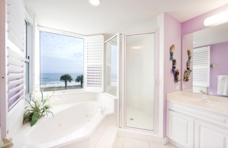 Rental bathroom at Beach Colony Resort.