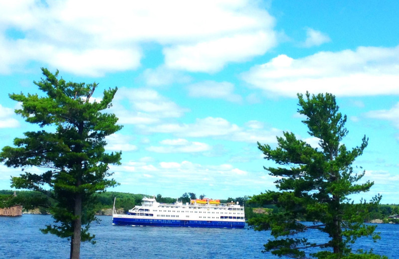 River cruise ship sailing past Bonnie Castle Resort.