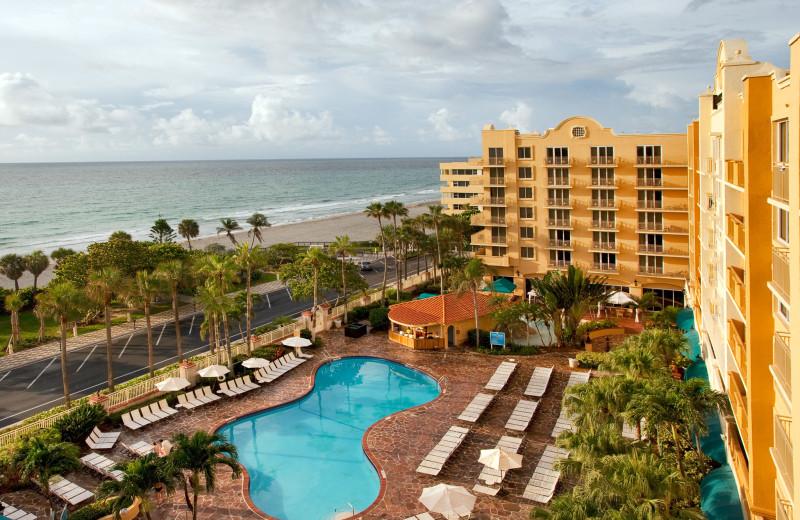Outdoor pool at Embassy Suites Deerfield Beach Resort.