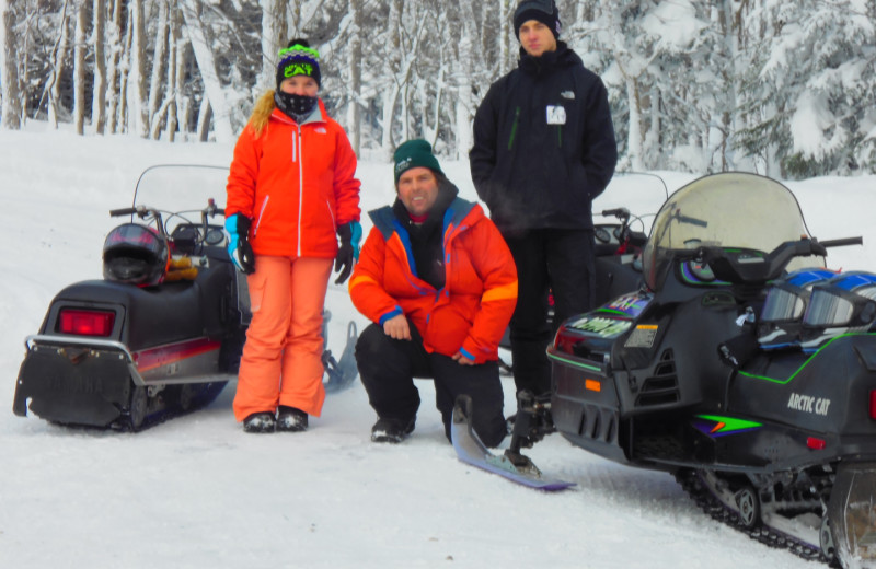 Snowmobiling at Tug Hill Resort.