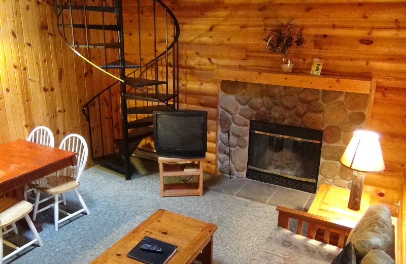 Cabin living room at Birchcliff Resort.