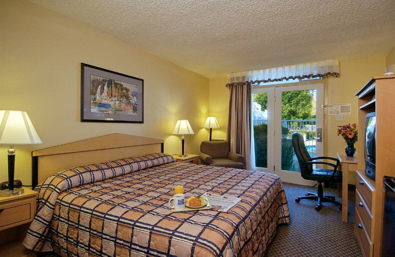 Guest room at Marina Village Inn.