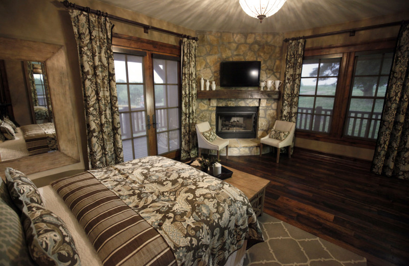 Guest suite with fireplace at Morrell Ranch.