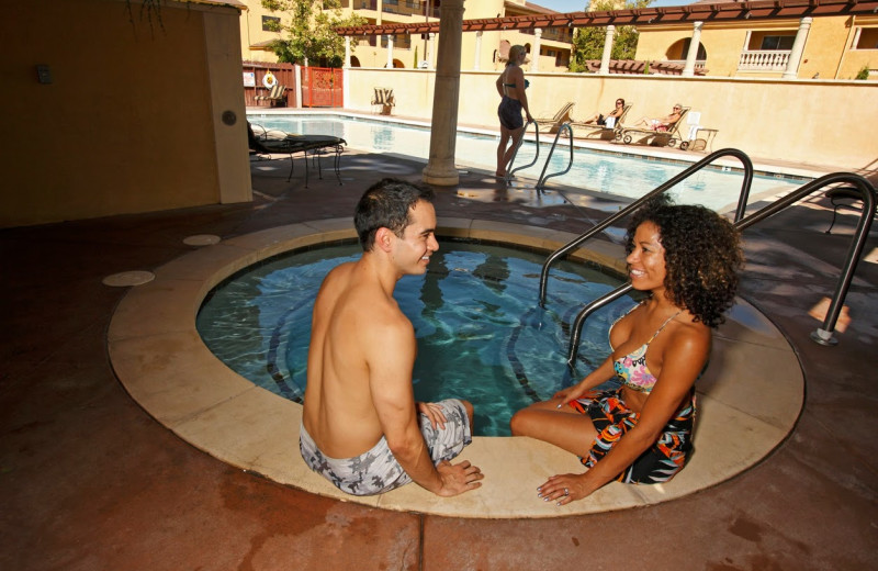 Relaxing in the hot tub at Dry Creek Inn Hotel.