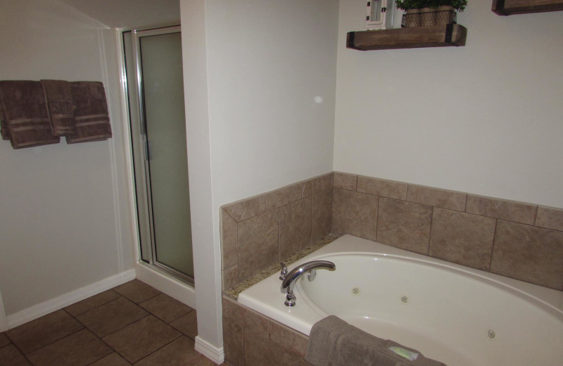 Guest bathroom at Vickery Resort On Table Rock Lake.
