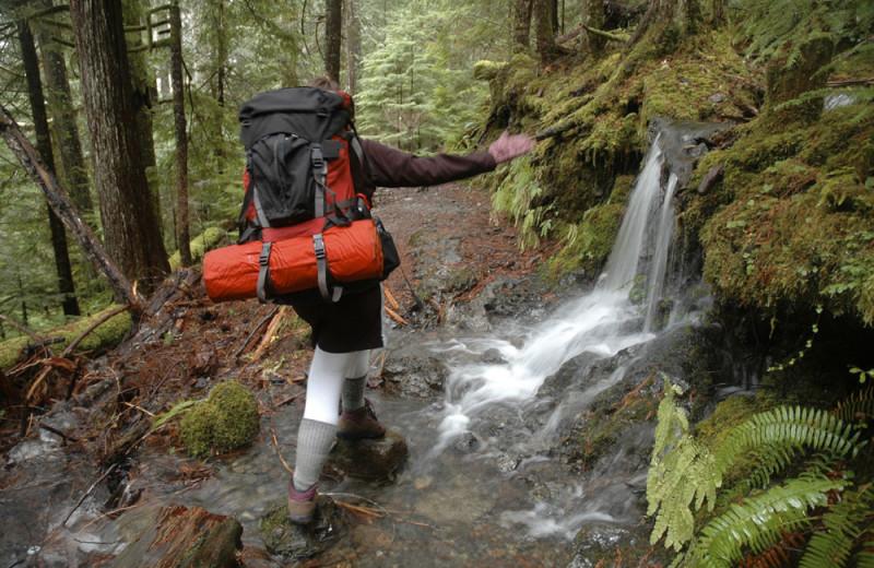 Hiking at Lake Quinault Lodge.
