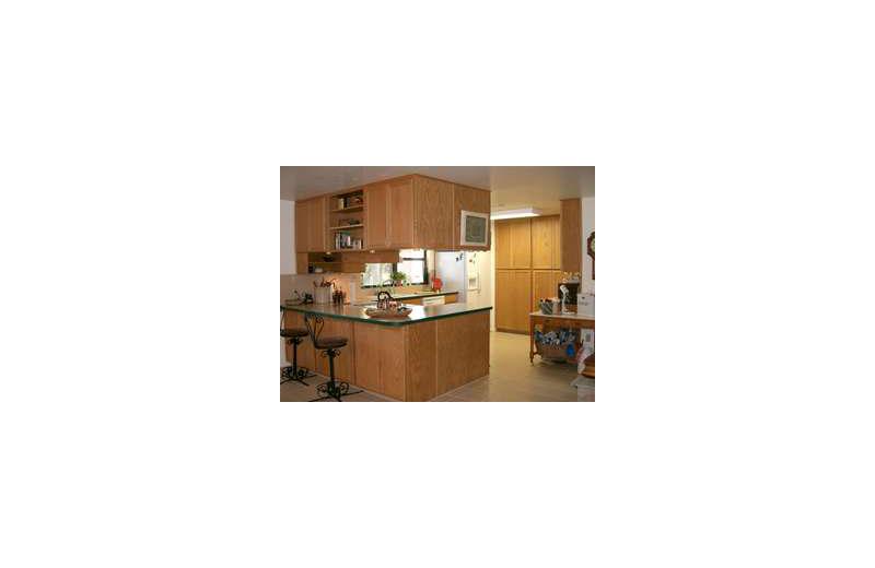 Rental kitchen at Loch Lone Star on Lake LBJ.