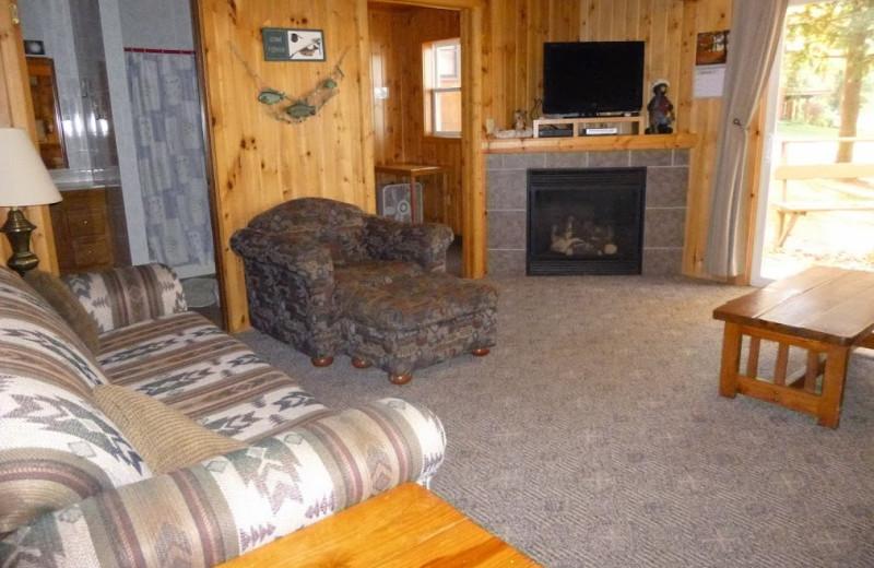 Cabin living room at Mogasheen Resort.