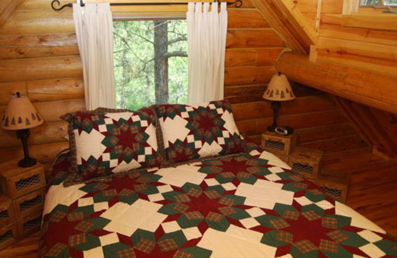 Cabin bedroom at Newton Fork Ranch.