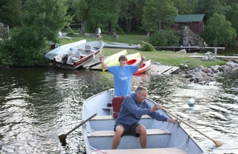Boating at Grey Wolf Lodge.