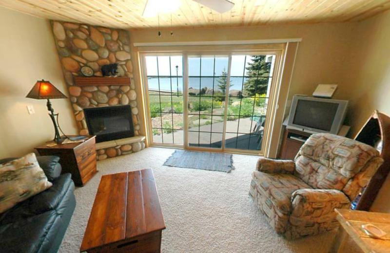 Villa living room at Cobblestone Cove Villas.