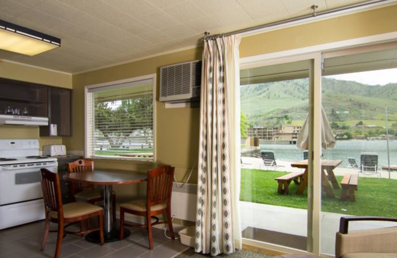 Guest room with kitchenette at Campbell's Resort on Lake Chelan.