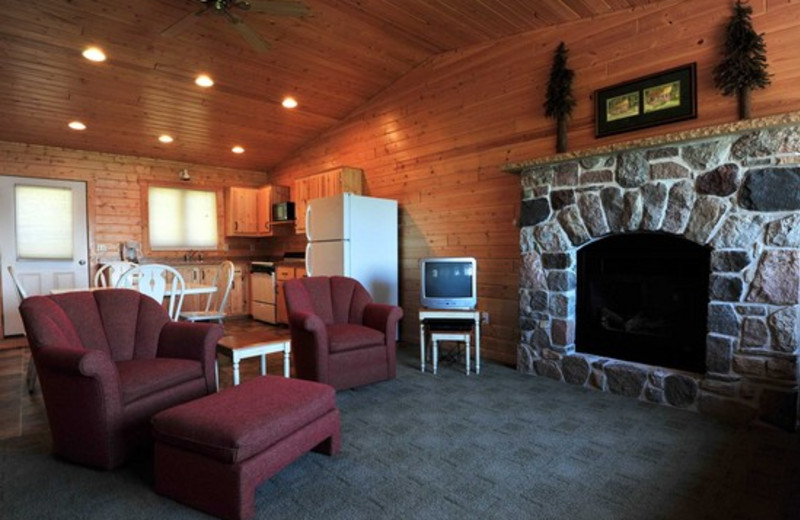 Cabin living room at Agate Lake Resort.