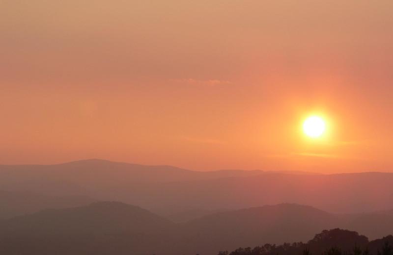 Sunset at Greybeard Rentals.